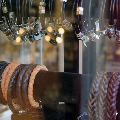 A Collection Of Mens Leather Bracelets